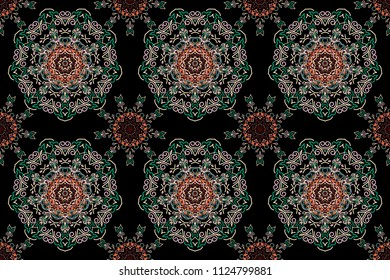 Traditional raster gothic damask background. Red and pink seamless background ornament pattern. Abstract arabesque background for greeting card, presentation or wedding invitations.