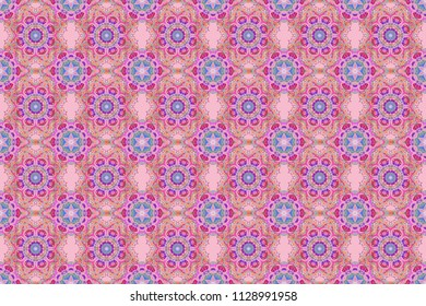 Traditional raster gothic damask background. Violet and pink seamless background flower ornament pattern. Abstract arabesque background for greeting card, presentation or wedding invitations.