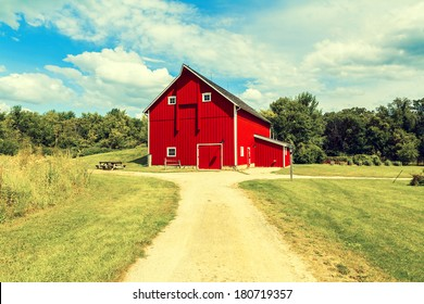 Traditional Red American Countryside Farm