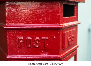 Traditional red British post box