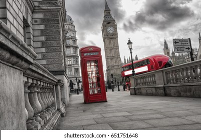 Traditional red british telephone box with Big Ben and Double Decker bus