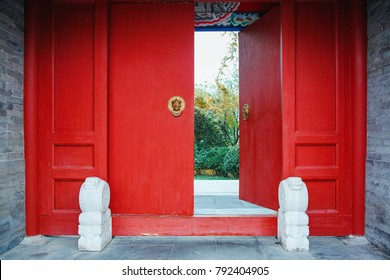 Traditional red door