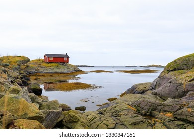 traditional red house in Norway, Lofoten at sea side