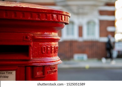 Traditional red mail letter box in London