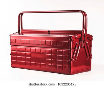 Traditional red metal toolbox with a hinged lid.