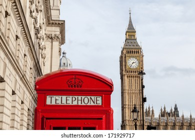 The traditional red telephone box and the Big Ben in London