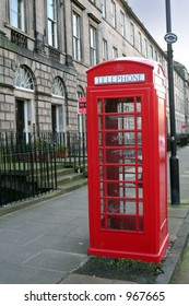 A Traditional red telephone Box in Edinburgh