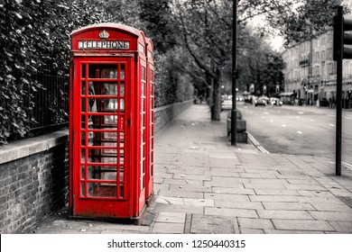 Traditional Red Telephone Box in London city, England, selective color image, Red Color