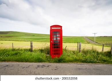 Traditional red Telephone box, Scotland, UK