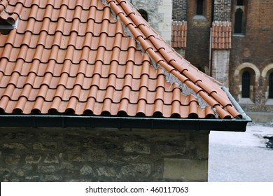 The traditional red-tiled roofs in Prague