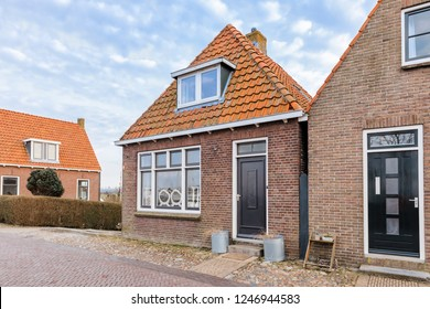Traditional residential buildings in Hindeloopen, Netherlands.