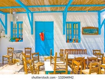 Traditional restaurant in Langada a village of Amorgos island in Greece