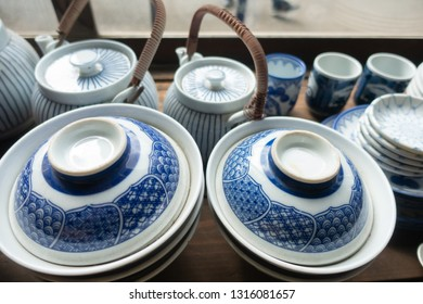 Traditional and retro tableware, pots and bowls.