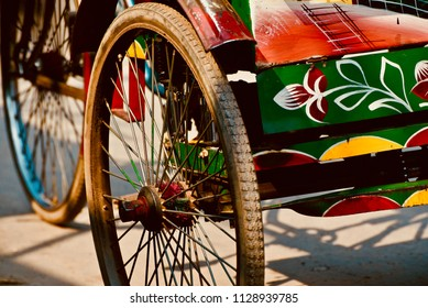 Traditional rickshaw wheels isolated object unique photograph