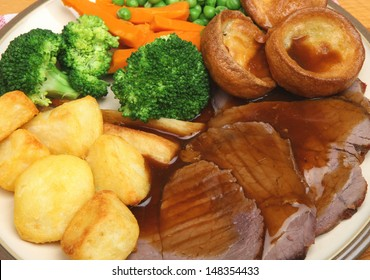 Traditional roast beef Sunday dinner.