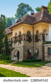 Traditional Romanian architecture building, part of the Turnu Monastery establishment, one of the most sacred Christian monastic dwellings, situated in Cozia Mountains, Valcea county, Romania.