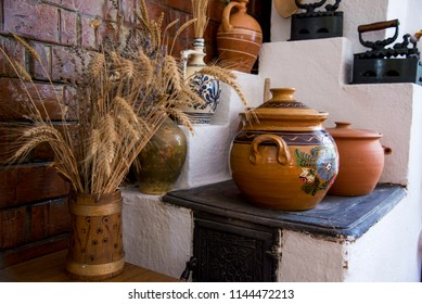 Traditional Romanian earthenware pottery in Buzau - Romania. Romanian pottery is traditionally produced by hand.