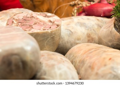 Traditional Romanian meat - aspic pieces.