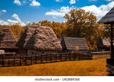 Traditional Romanian village with old house straw roofing in Astra Museum of Traditional Folk Civilization, Sibiu city, Romania