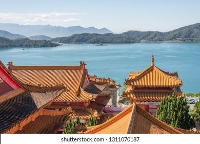 traditional roof at Wenwu temple in Sun Moon Lake, Taiwan