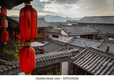 Traditional rooftops and lantern lights in the old town of Lijiang, Yunnan province, China.