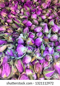Traditional rose petal tea, dried pink Middle Eastern rose buds, fragrant Iranian flowers and petals