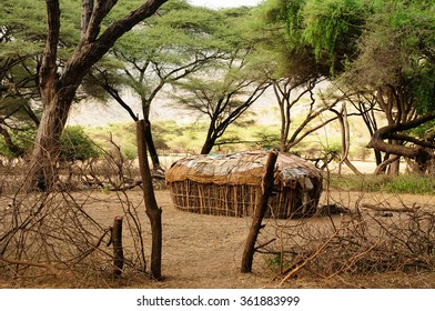 Traditional round house of people from the Samburu tribe in the South Horr village in Kenya