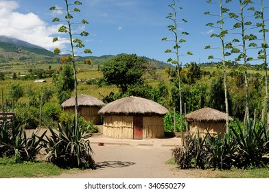Traditional round mud house in africa near Arusha in Tanzania