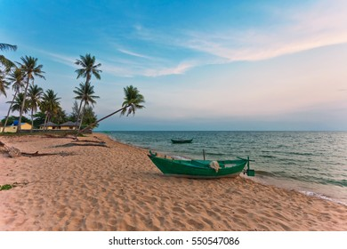 Traditional round Vietnamese boat  at the beach in sunset time. Phu Quoc island. Vietnam