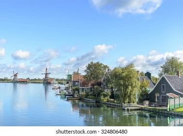 Traditional rural houses near the canal. Zaanse Schans. Netherlands.