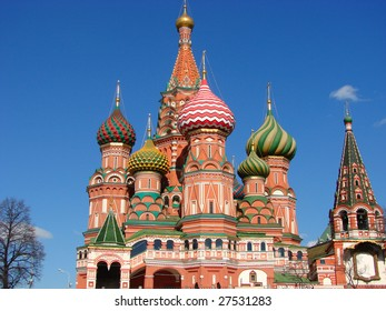 Traditional Russian architecture. The Pokrovsky Cathedral on Red Square in Moscow.Russia