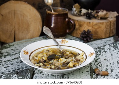 traditional Russian cabbage soup shchi with mushrooms in a rustic style