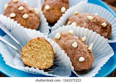 Traditional russian cake kartoshka chocolate truffle potatoes. Rum balls of vanilla biscuit with cocao powder and butter cream