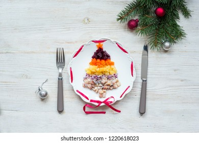 Traditional Russian Christmas New Year salad with beetroot and herring shuba