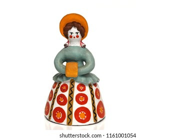 Traditional Russian Dymkovo souvenir toy, barynya, isolated at white background