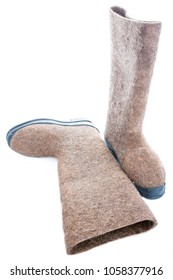 traditional russian felt boots - valenki, isolate on white background
