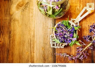 Traditional russian green herbal tea from Fireweed leaves: Koporye Tea, Russian Tea or Ivan Chai.