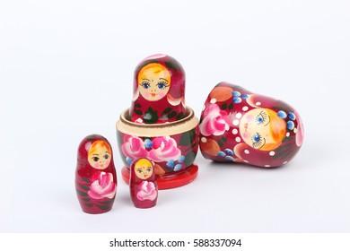 traditional Russian matryoshka doll on white background