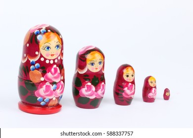 traditional Russian matryoshka doll on white background