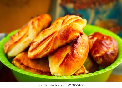 Traditional russian meat pies on plate, selective focus