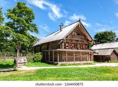 Traditional russian old wooden house in the village on Northern Russia