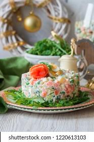 Traditional Russian Polish Christmas New Year salad Olivier