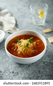 Traditional Russian sauerkraut soup with fresh parsley