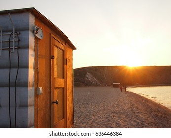 A traditional Russian Sauna (Banya) on the edge of Lake Baikal. It is customary to sit in the sauna, and then walk out into freezing Lake Baikal to refresh themselves.
