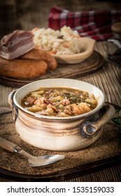 Traditional Russian sour cabbage soup