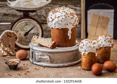 Traditional Russian Sweet Easter Bread, Soda Quark Kulich