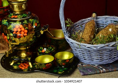 Traditional Russian Tea Ceremony with Ornate Khokhloma Samovar made as Water Source, Russian Samovar