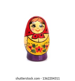 """Traditional Russian wooden toy """"Matryoshka"""" isolated on white background"""