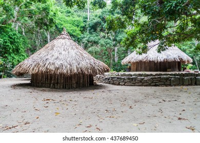 Traditional rustic houses of indigenous Kogi people in Tayrona National Park, Colombia