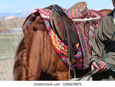 Traditional saddle and saddlebag in Anatolia.